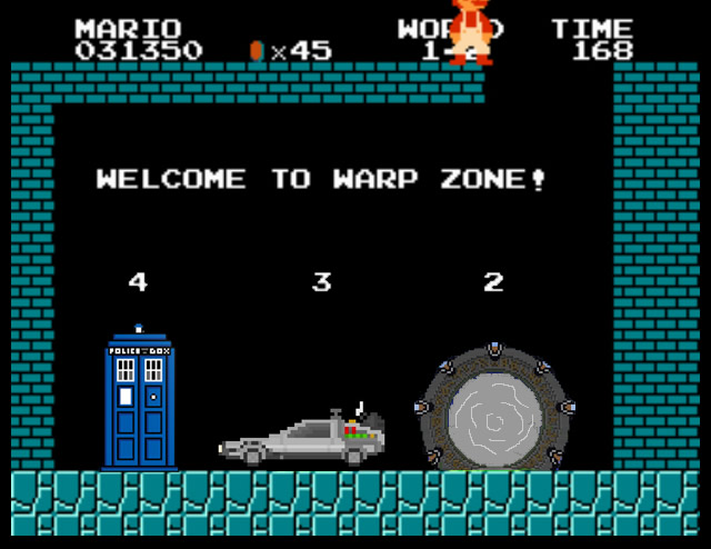 8-bit Mario warp zone with DeLorean, Stargate, and TARDIS